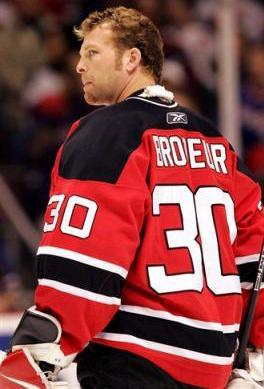 Martin Brodeur on the ice as a New Jersey Devil